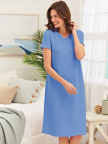 Short-Sleeve Lace-Trim Nightgown - Image 1 of 4
