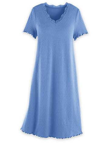 Short-Sleeve Lace-Trim Nightgown - Image 2 of 2