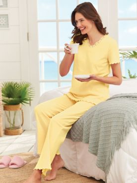 Short-Sleeve Lace-Trim Pajamas