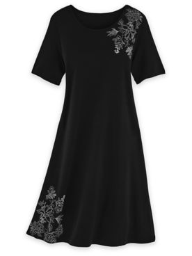 Short-Sleeve Print-Trim Lounge Dress
