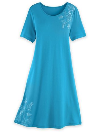 Short-Sleeve Print-Trim Lounge Dress - Image 1 of 3