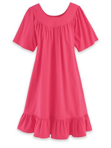 Short-Sleeve Cotton Patio Dress - Image 1 of 3