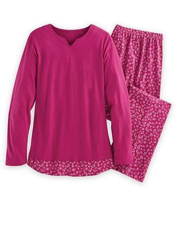Floral-Print Long 2-Piece Pajamas Set - Image 1 of 4
