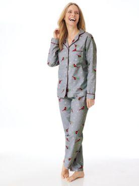 Printed Flannel 2-Piece Long Pajamas