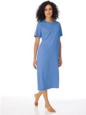 Short-Sleeve Knit Henley Nightshirt