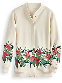 1950s Style Sweaters, Crop Cardigans, Twin Sets Floral Border Print Fleece Jacket $17.97 AT vintagedancer.com