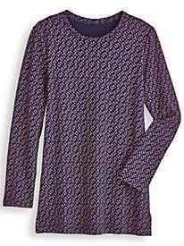Printed Long-Sleeve Fresh® Tunic by Blair