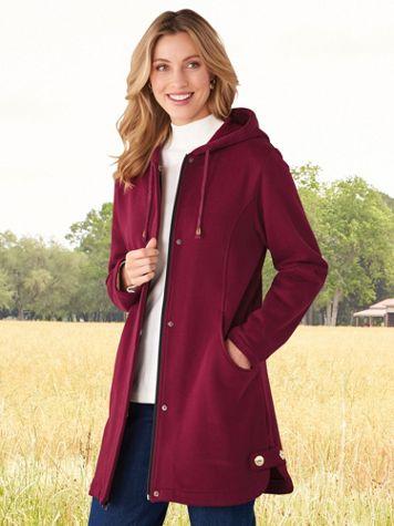 Hooded Button-Trim Fleece Jacket - Image 1 of 2