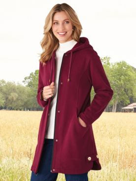 Hooded Button-Trim Fleece Jacket
