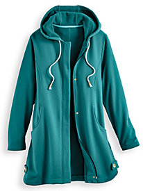 Hooded Button-Trim Fleece Jacket by Blair
