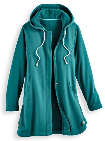 Hooded Button-Trim Fleece Jacket