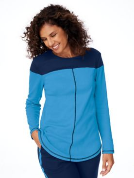 Fresh Knit Long-Sleeve Colorblock Tunic