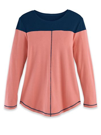 Fresh Knit Long-Sleeve Colorblock Tunic - Image 3 of 3