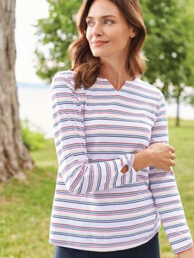 Long-Sleeve Stripe Active Top