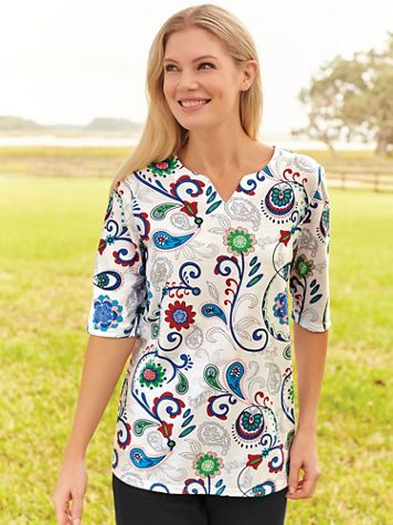 Elbow-Sleeve Floral-Print Knit Top - Image 1 of 2