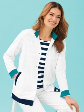 Contrast-Trim Knit Jacket