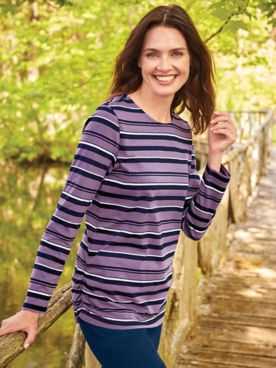 Long-Sleeve Striped Active Top