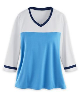 Three-Quarter Sleeve Fresh® Colorblock Top