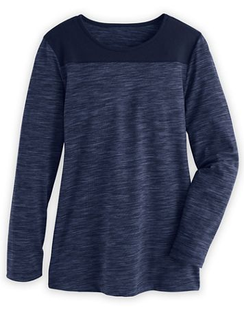 Contrast-Trim Long-Sleeve Active Top - Image 1 of 4