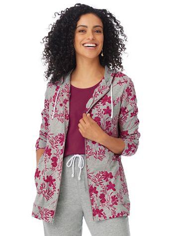 Floral-Print Zip-Front Active Jacket - Image 1 of 5