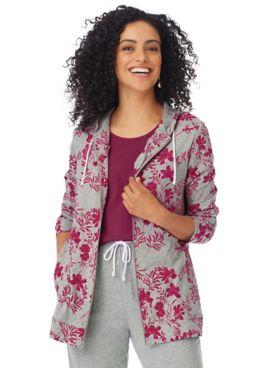 Floral-Print Zip-Front Active Jacket