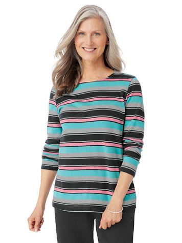 Heathered Long-Sleeve Stripe Active Top - Image 3 of 3
