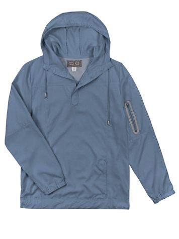 Lightweight Woven Quarter-Snap Placket Hoodie - Image 1 of 4