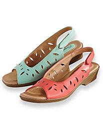 Retro Sandal History: Vintage and New Style Shoes Brook Cutwork Sling Sandals $34.99 AT vintagedancer.com