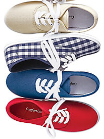 Retro Vintage Flats and Low Heel Shoes Kelly Canvas Tie Sneakers $14.99 AT vintagedancer.com