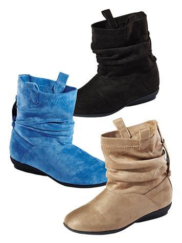 Faux Suede Ankle Scrunch Boots by Classique®