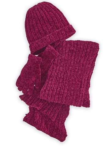 Chenille Hat, Gloves & Scarf Set - Image 1 of 4