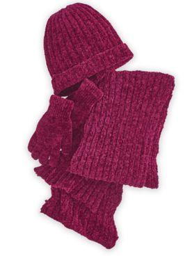Chenille Hat, Gloves & Scarf Set
