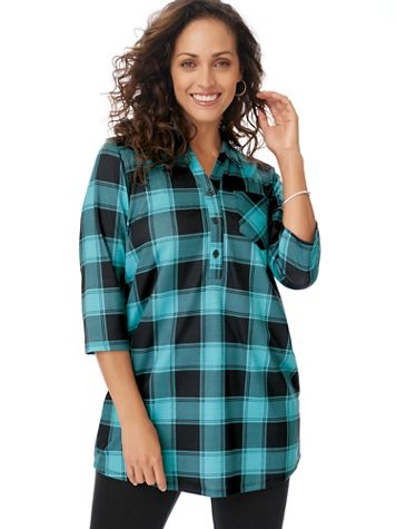 Cozy Fleece Plaid Big Shirt - Image 1 of 5