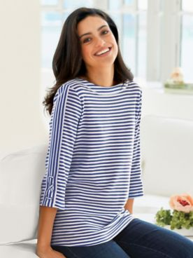 Two-Twenty® Stripe Criss-Cross Sailor Top