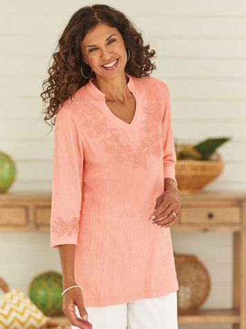 Knit Gauze Embroidered Tunic