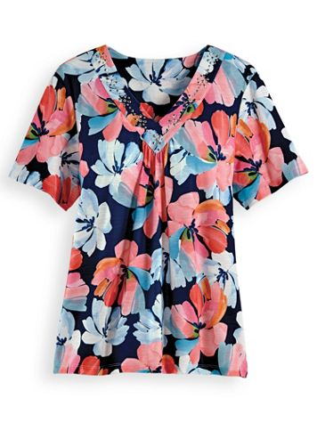Alfred Dunner® Watercolor Floral Top - Image 2 of 2