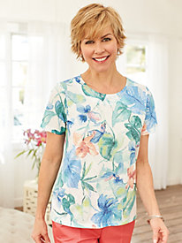Alfred Dunner® Tropical Top with Lace Back Detail