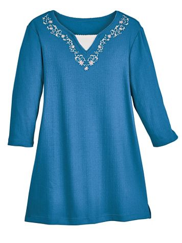 Three-Quarter Sleeve Pointelle Knit Tunic - Image 1 of 5