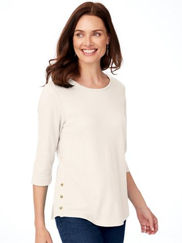 Essential Knit Three-Quarter Sleeve Button-Trim Tee - Image 1 of 3