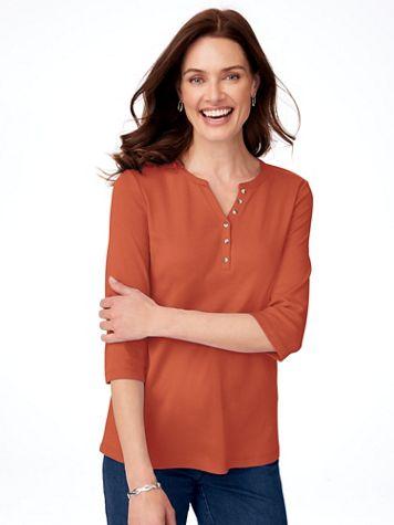 Three-Quarter Sleeve Knit Henley - Image 1 of 11