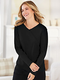 Essential Knit Faux-Wrap Tee