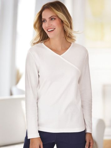 Essential Knit Faux-Wrap Tee - Image 0 of 1