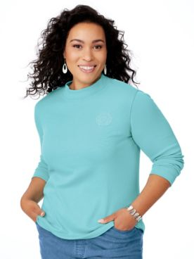 Long-Sleeve Mockneck Top