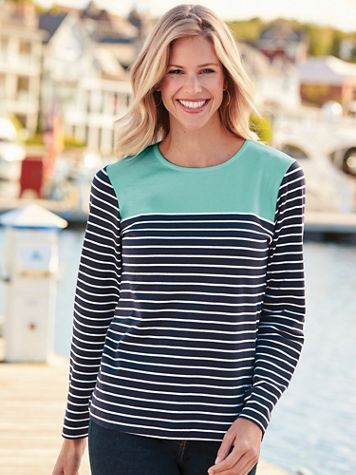 Long-Sleeve Colorblock Stripe Top - Image 1 of 4