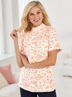 Patterned Short-Sleeve Mock