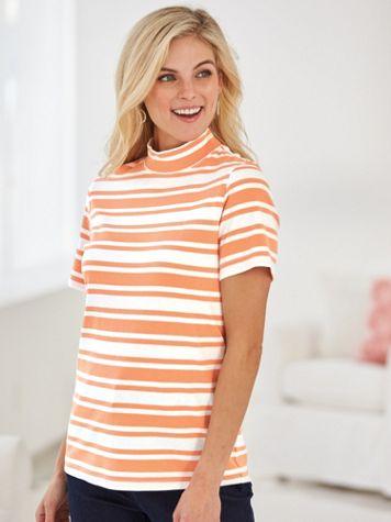 Patterned Short-Sleeve Mock - Image 0 of 2