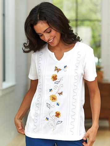Floral Pintuck Top - Image 1 of 4