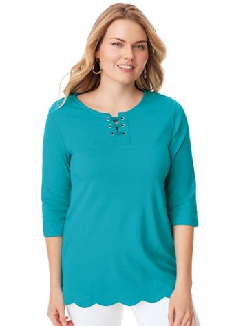 Essential Knit Print Scalloped Hem Tunic - Image 1 of 8
