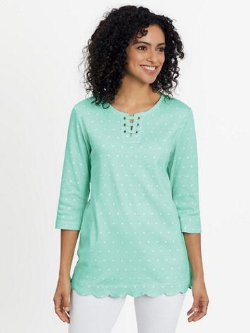 Essential Knit Print Scalloped Hem Tunic - Image 1 of 11