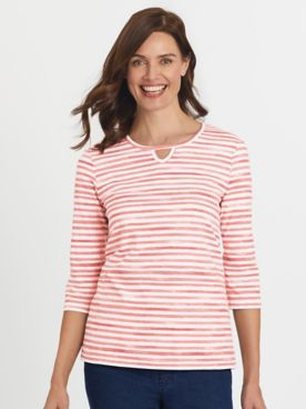 Three-Quarter Sleeve Parfait Keyhole Tee